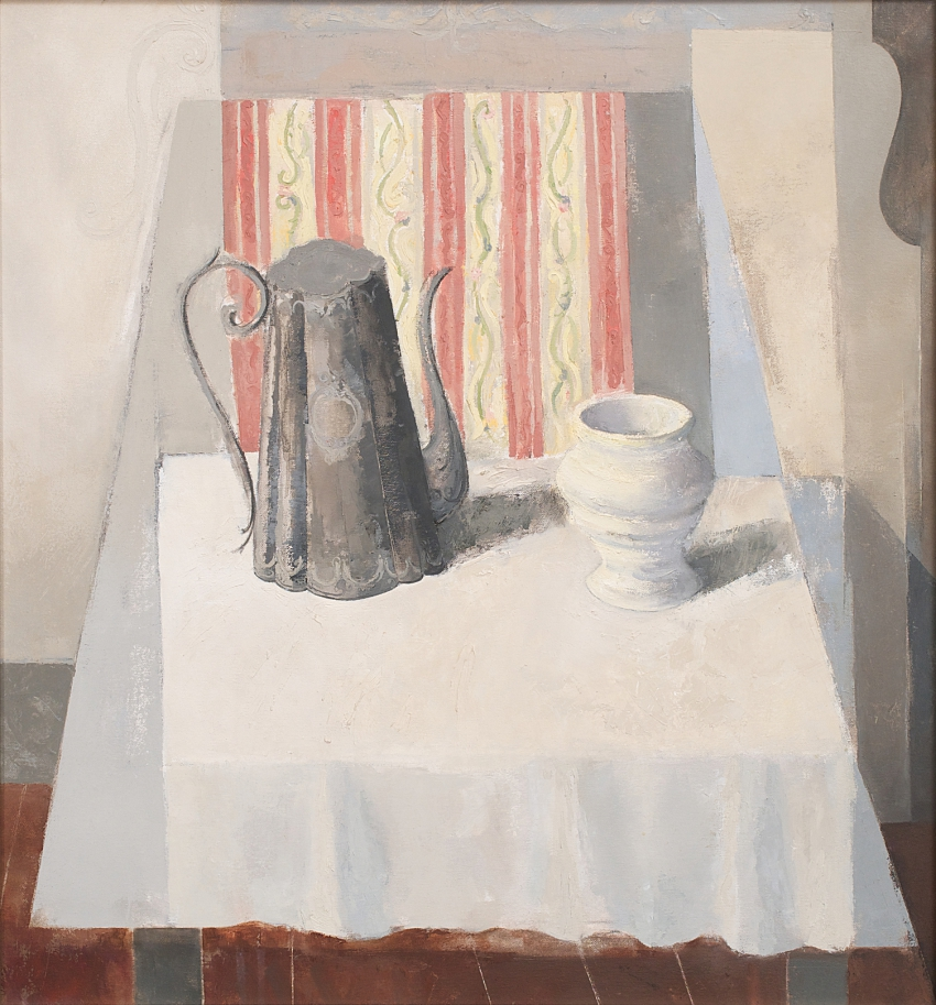 Still-life with Pewter Coffee Pot, Vase and Patterned Drapery