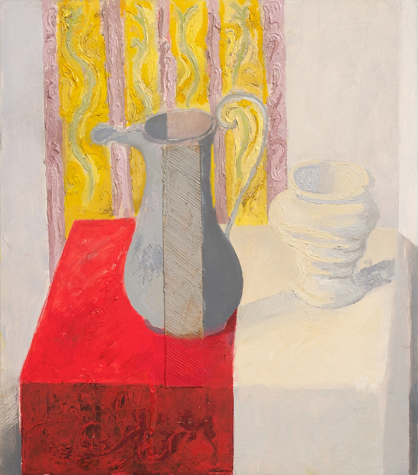 Still-life with Jug, Vase and Patterned Drapery
