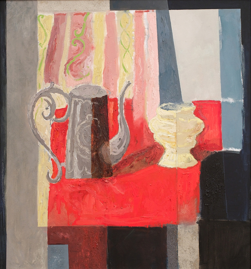 [P40] 02/99 Still-life with Coffee Pot Vase and Red Cloth