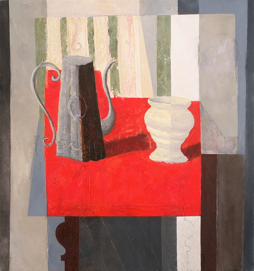 [P93] 08/05 Still-life with Coffee Pot, Vase and Red Cloth
