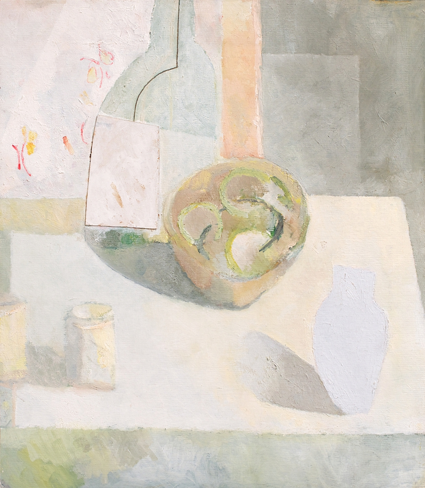 Still-life with Bowl, Vase and Tins